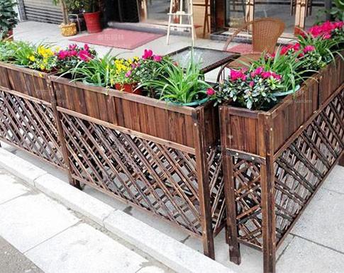 防腐木花架花箱